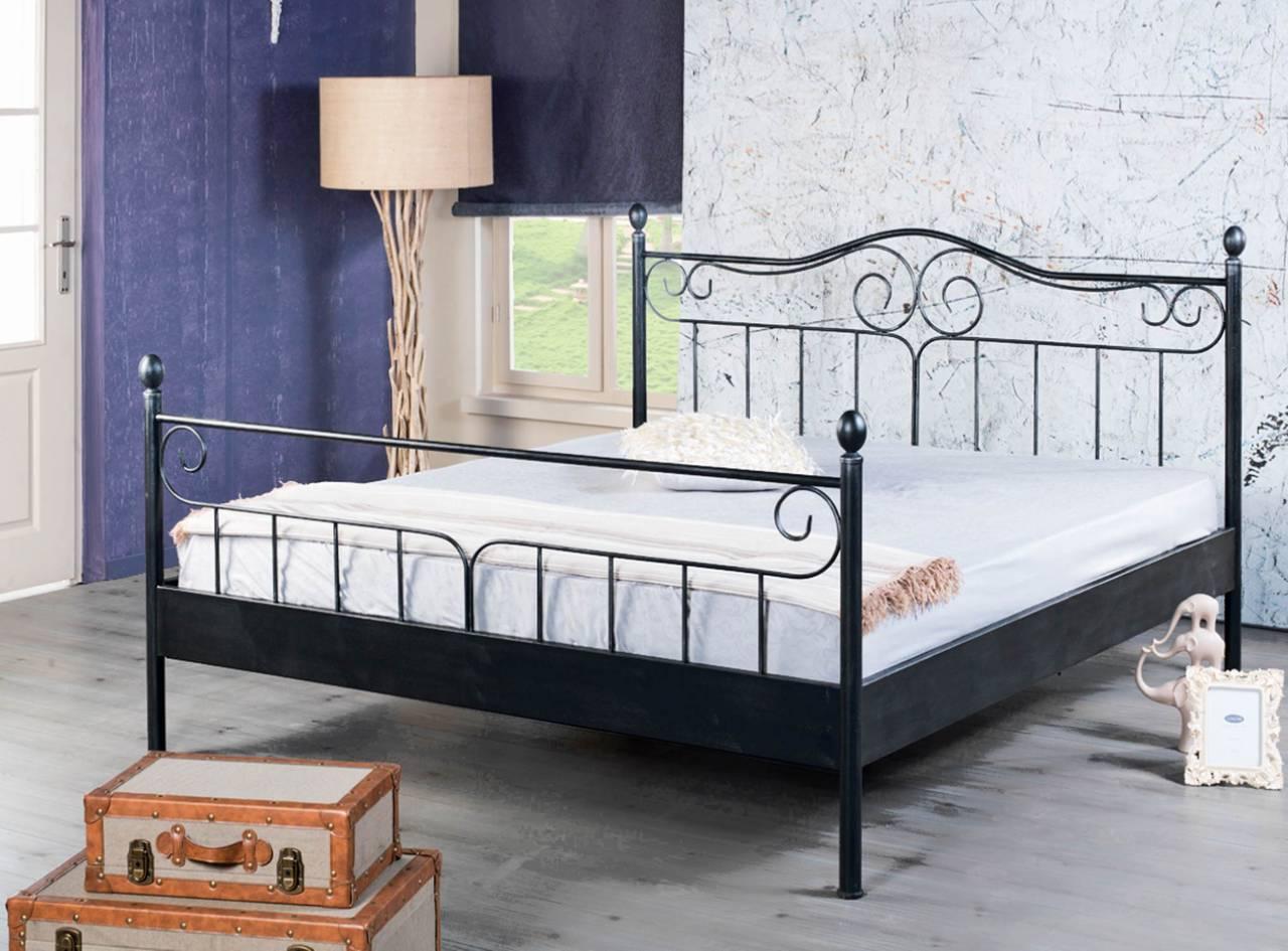 Metallbett VIRGINIA Schwarz lackiert verschiedene Größen von Bed Box