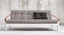 Design-Sofa Schlafsofa POETRY Gestell weiß mit klappbarer Rückenlehne