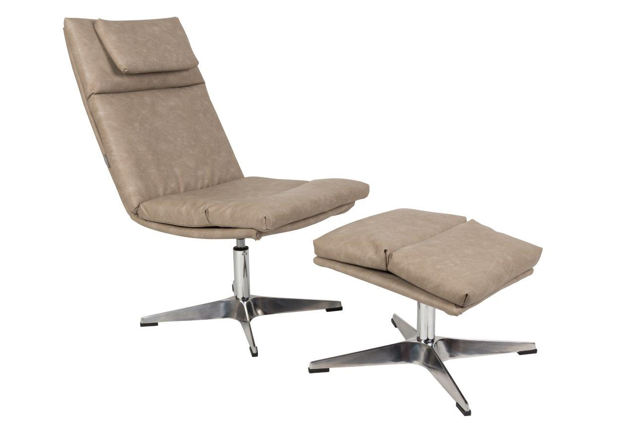 Lounge Sessel CHILL mit Hocker -  Vintage Beige
