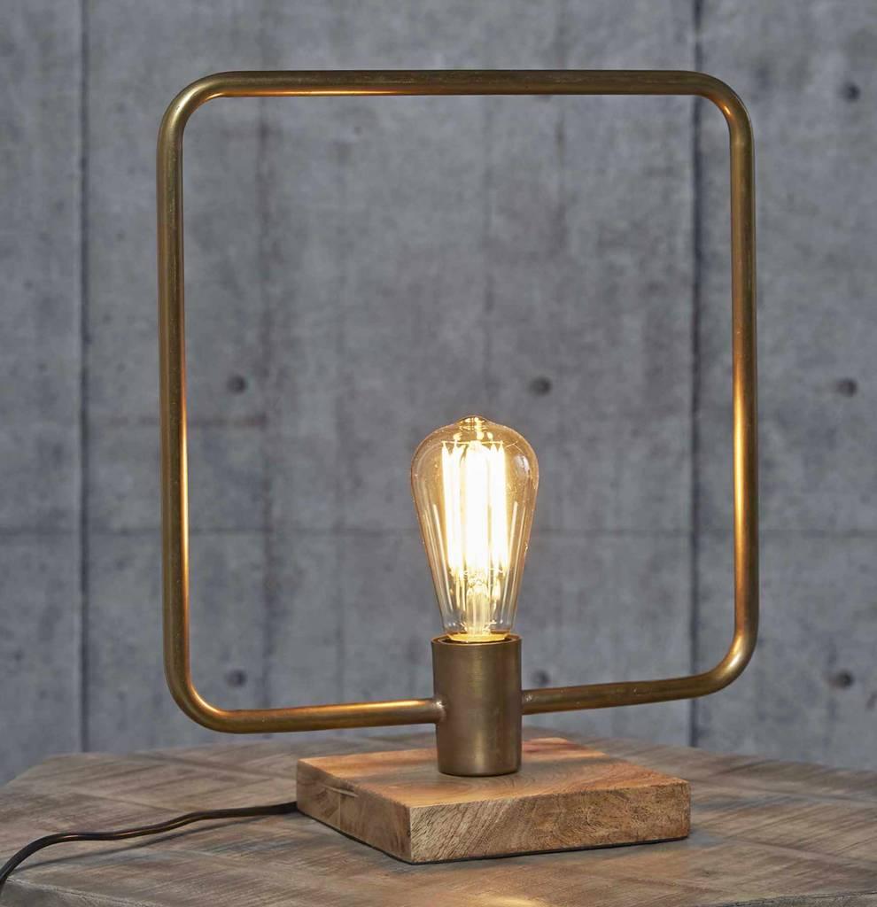 quadratische Tischleuchte BRONS Bronzefarben mit Holzsockel