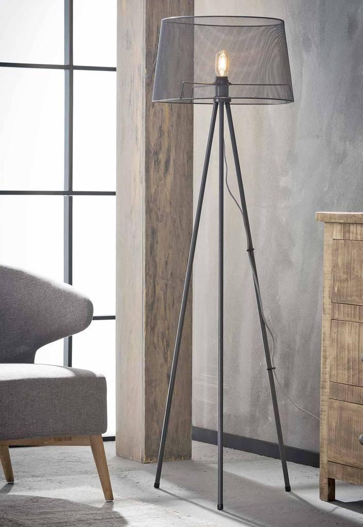 stehleuchte febe tripod stehlampe mit drahtgeflecht grau. Black Bedroom Furniture Sets. Home Design Ideas