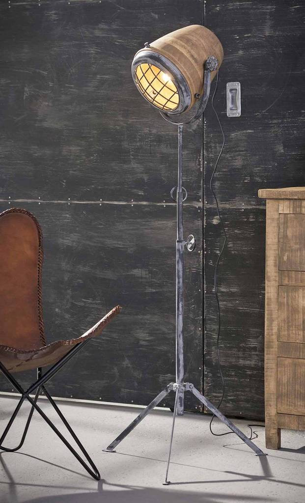 Stativ Stehleuchte Kap 184 Gestell Vintage Grey Schirm Aus Mangoholz