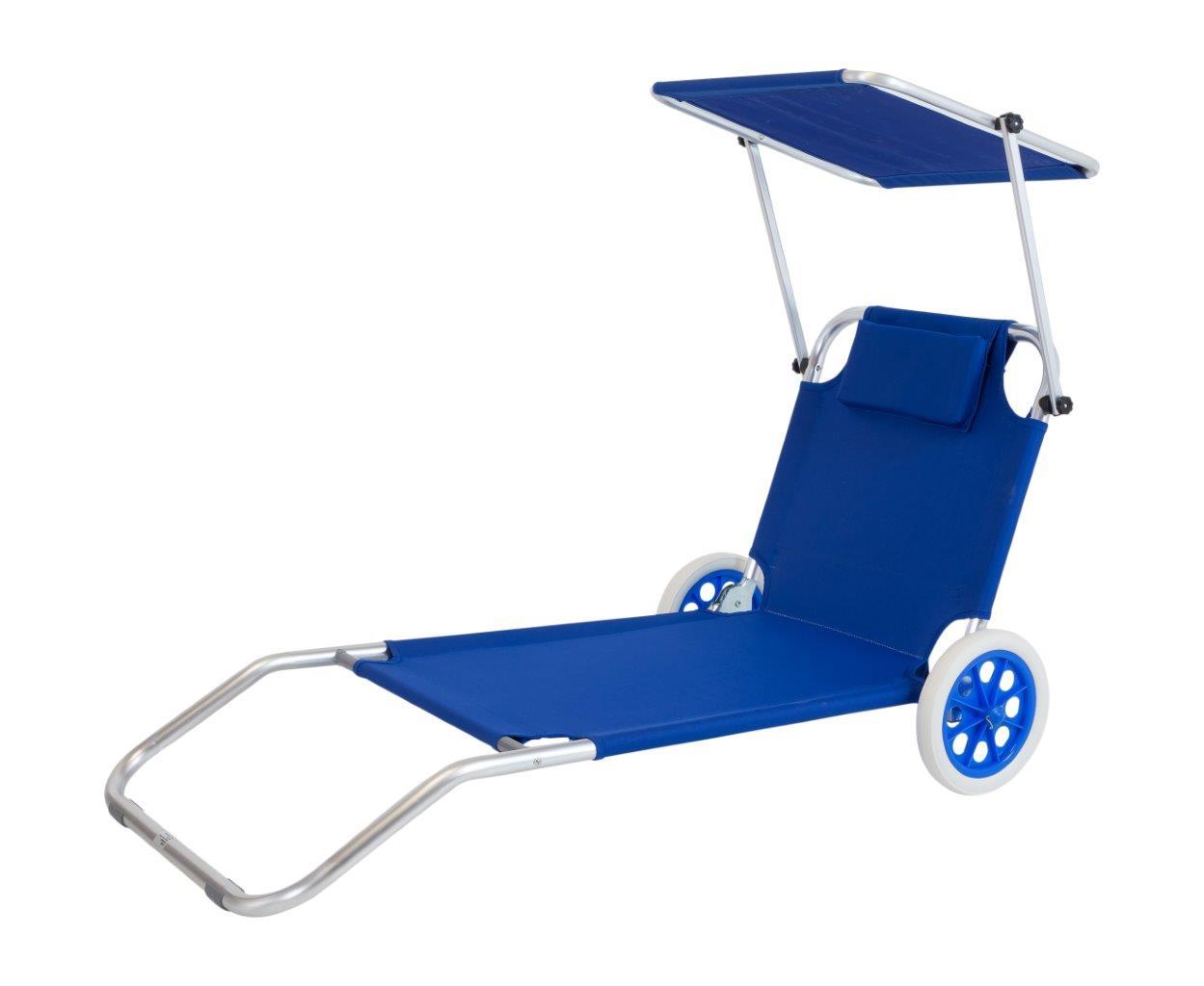 Rollliege Strandtrolley Beachtrolley in Blau mit Dach