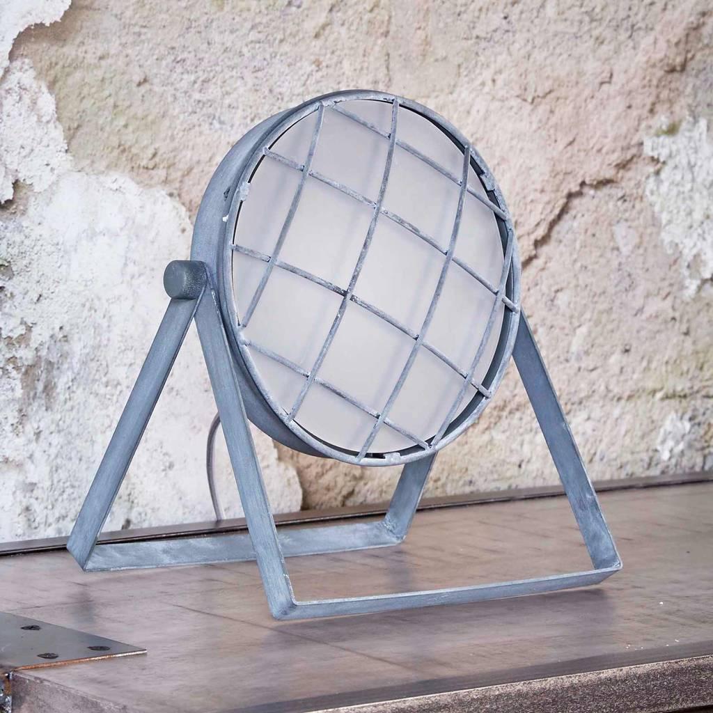 tischleuchte grill mit metallschirm tischlampe in vintage grey ebay. Black Bedroom Furniture Sets. Home Design Ideas