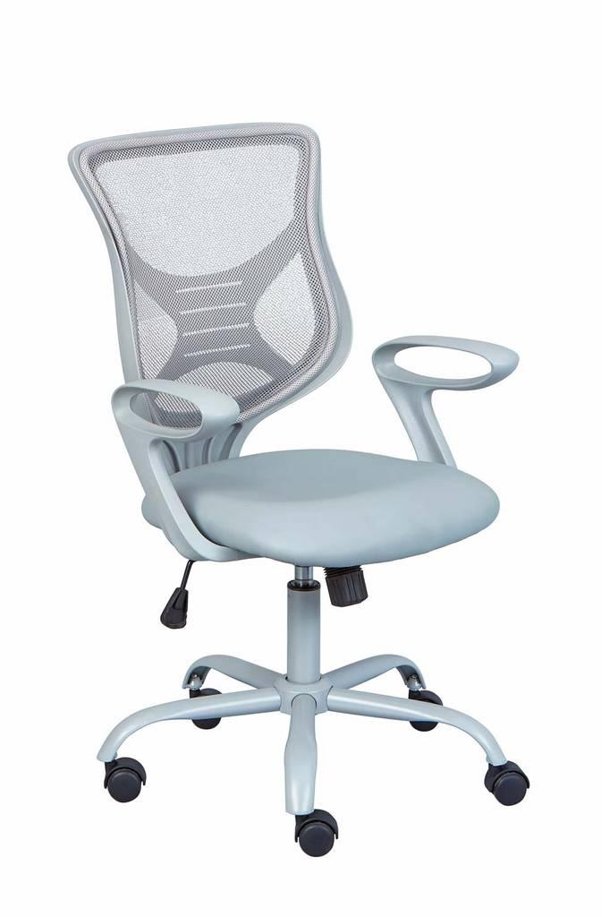 Bürodrehstuhl Bürostuhl ALFENA Grau Metallfußkreuz PVC + Mesh