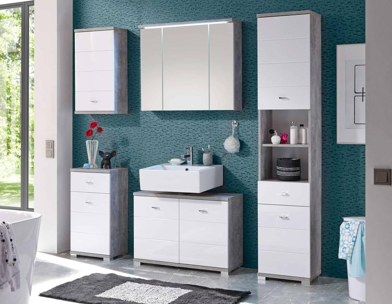 Badezimmer POOL Weiß/Beton Komplettset 5-tlg.