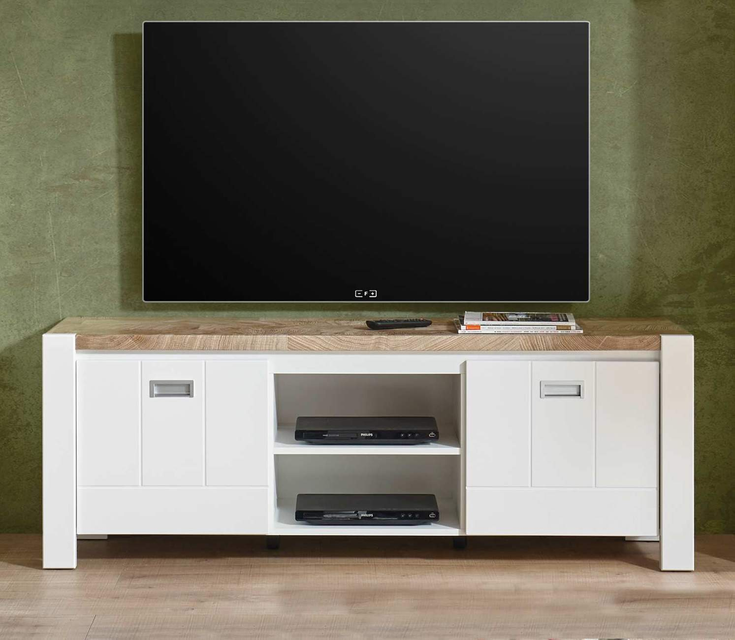 lowboard tv board melly 2 trg mit ger tefach wei eiche optik. Black Bedroom Furniture Sets. Home Design Ideas