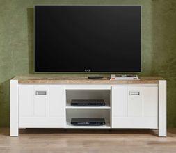 Lowboard TV-Board MELLY 2-trg. mit Gerätefach Weiß / Eiche Optik