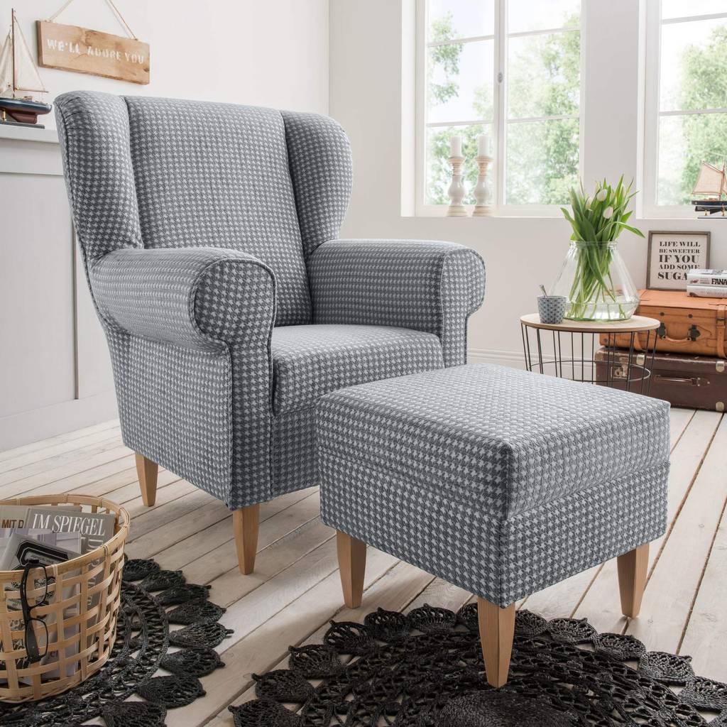 polstersessel ohrensessel aversa stoff talento grau. Black Bedroom Furniture Sets. Home Design Ideas