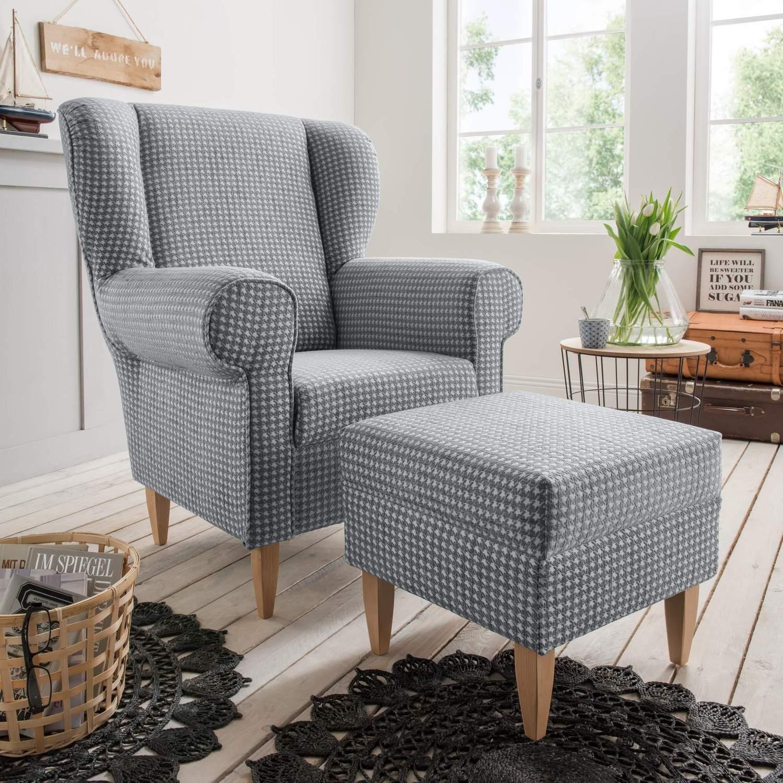 polstersessel ohrensessel aversa stoff talento grau im landhausstil ebay. Black Bedroom Furniture Sets. Home Design Ideas