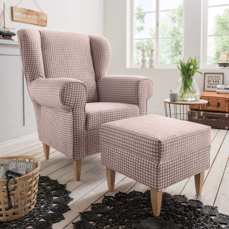 polstersessel ohrensessel aversa stoff talento flamingo im landhausstil ebay. Black Bedroom Furniture Sets. Home Design Ideas