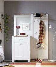Kompakt Garderobe MELLY 2-tlg. Komplett-Set Weiß / Eiche Optik