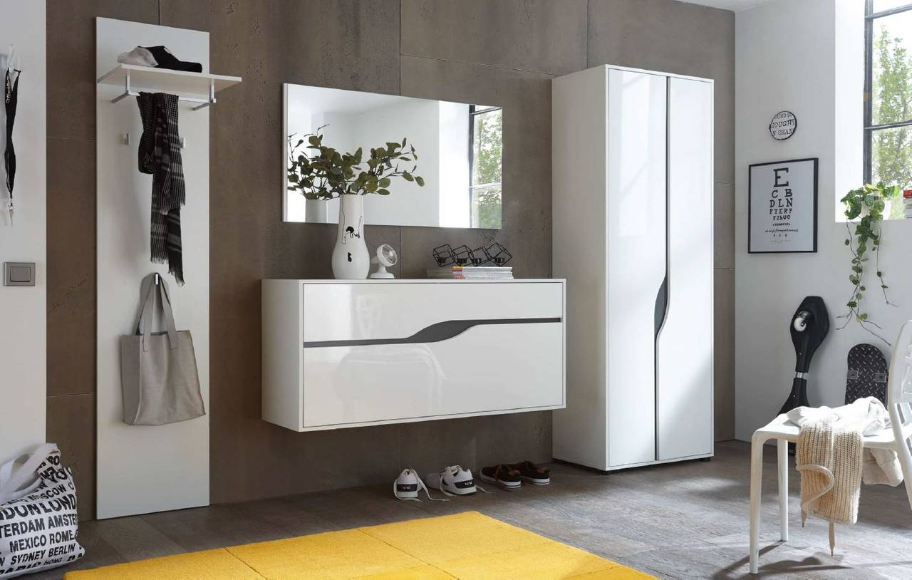 Design garderobe wave 4 tlg komplett set wei gl nzend for Garderobe trends