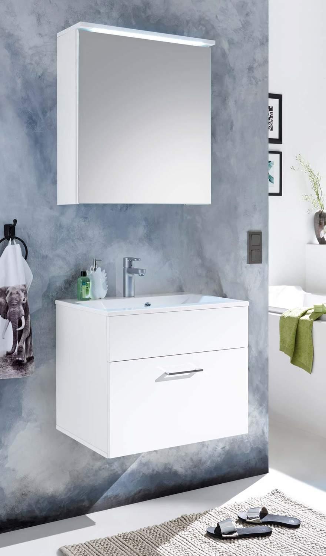 Badezimmer Kommode SPLASH 60 mit Waschbecken 2-tlg Set. Weiß