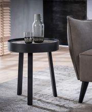 Beistelltisch TECA 45 runde Tischplatte Teak greywashed