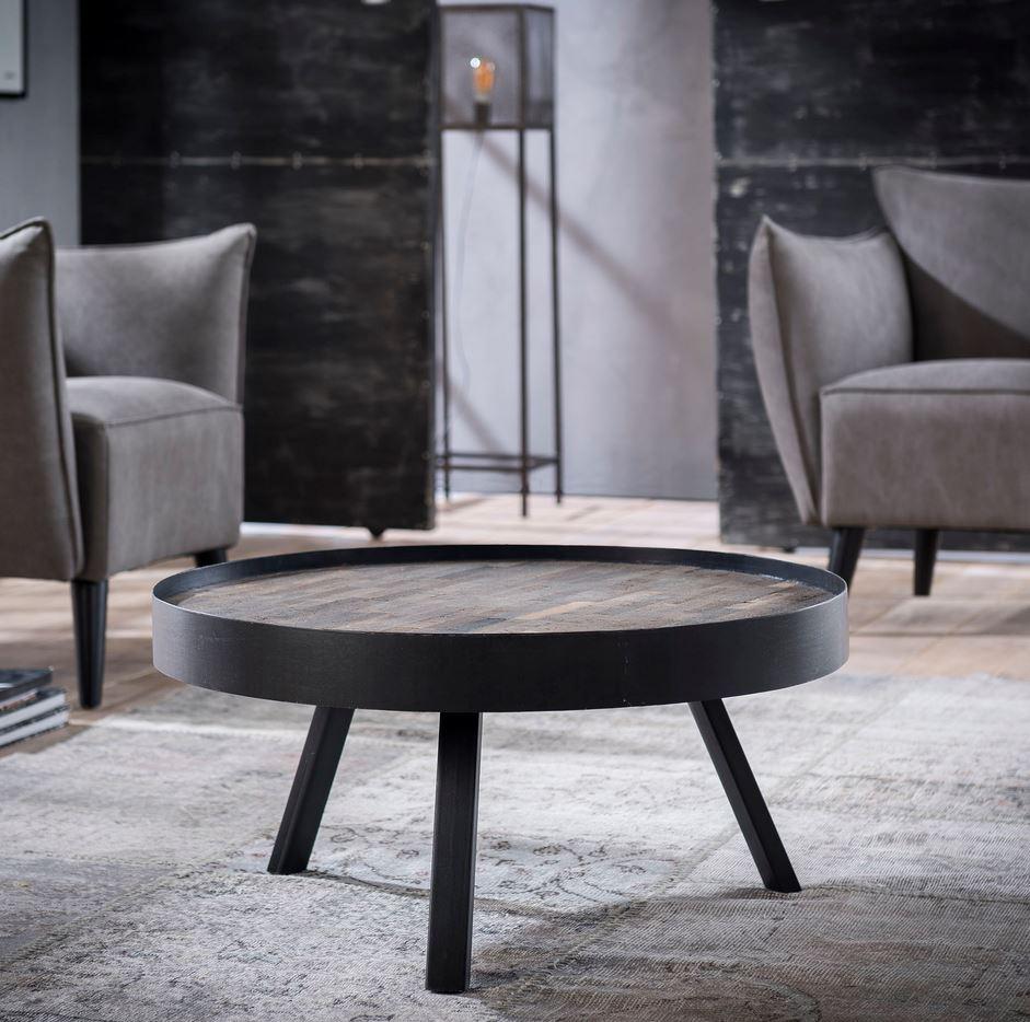 couchtisch teca 75 runde tischplatte teak greywashed. Black Bedroom Furniture Sets. Home Design Ideas