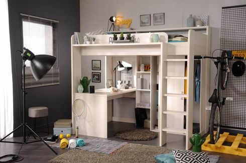 hochbett mit schreibtisch und kleiderschrank higher 1b von parisot. Black Bedroom Furniture Sets. Home Design Ideas