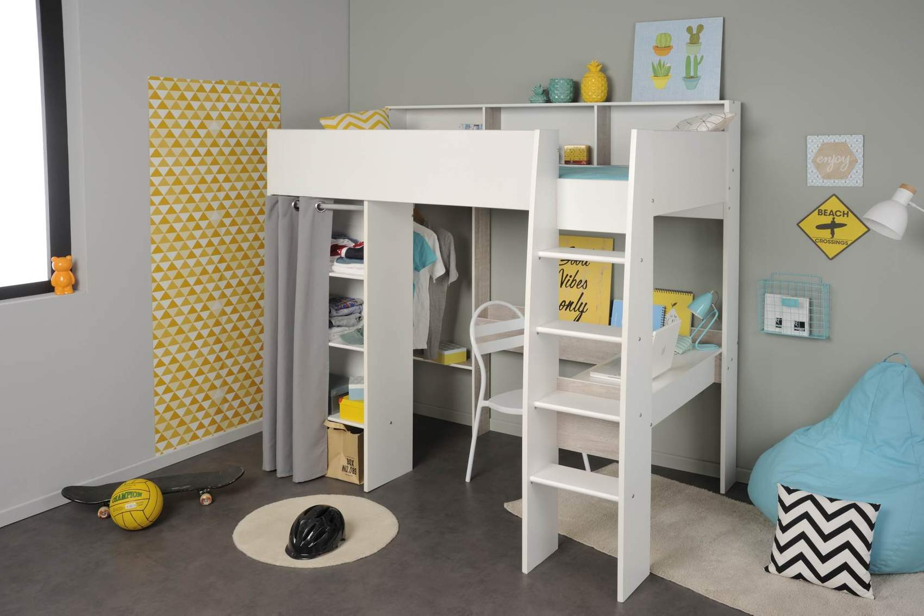 hochbett mit schreibtisch und kleiderschrank taylor 11 von parisot. Black Bedroom Furniture Sets. Home Design Ideas