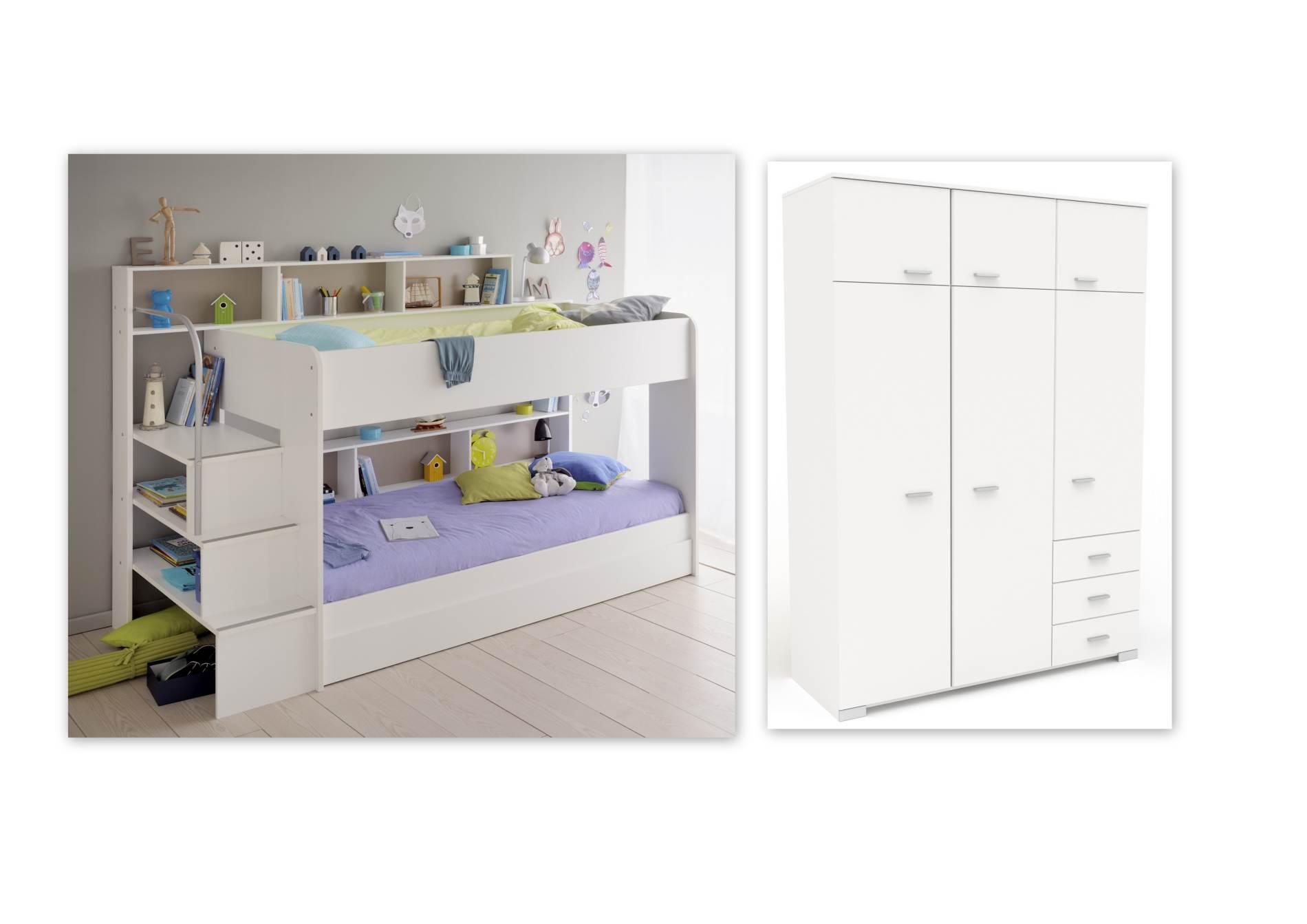 etagenbett set bibop 53 mit zus tzlichen kleiderschrank von parisot. Black Bedroom Furniture Sets. Home Design Ideas