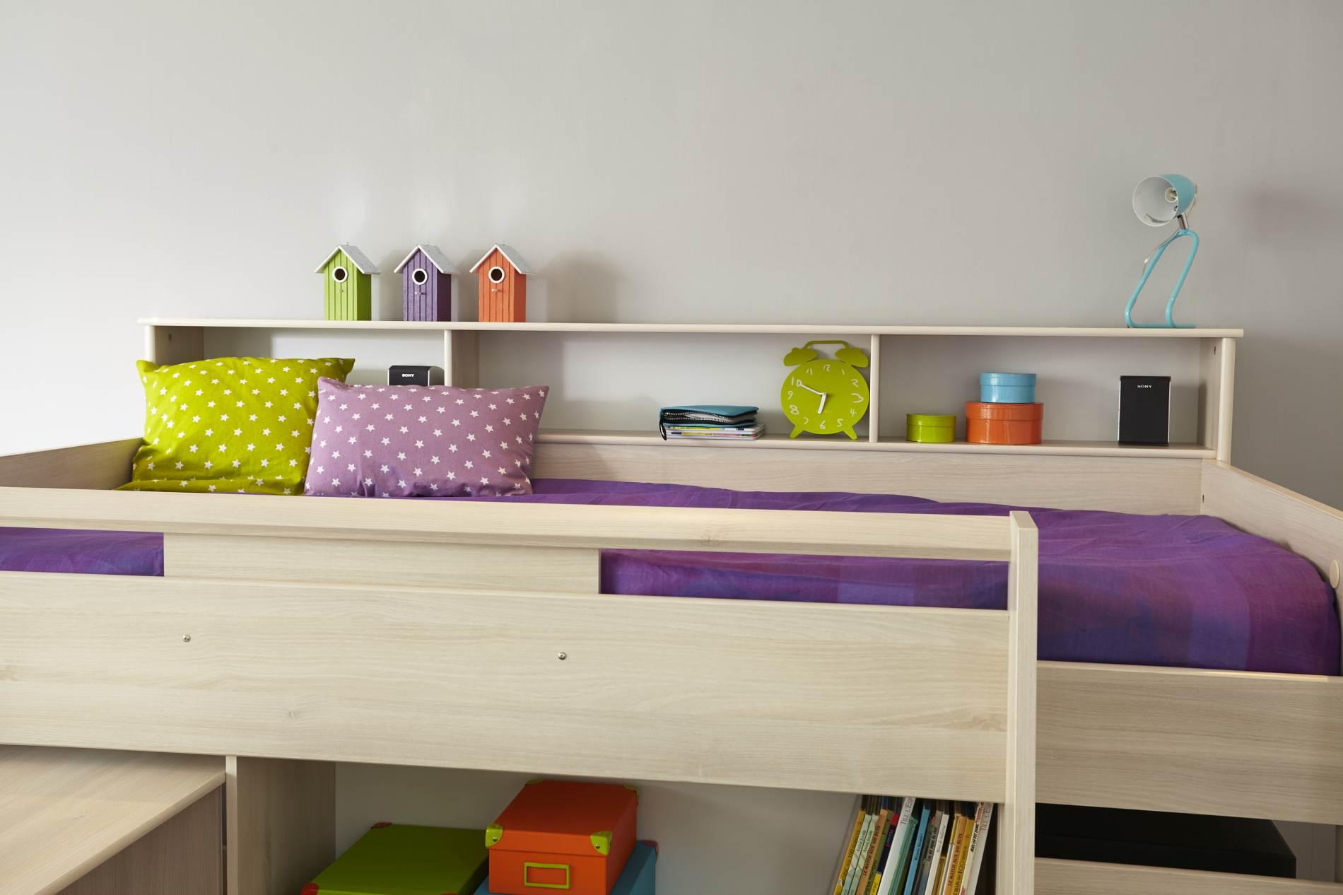 hochbett mit schreibtisch und kommode charly 2 von parisot. Black Bedroom Furniture Sets. Home Design Ideas