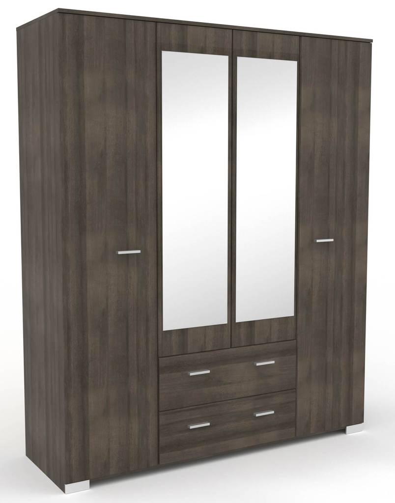 Kleiderschrank GALAXY 13 mit Spiegel 4-türig Walnuss von Parisot