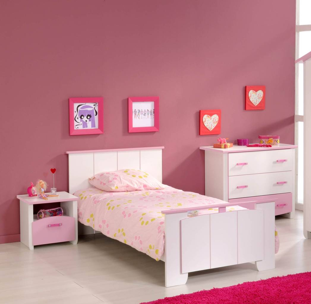 Kinderzimmer BIOTIFUL 3 Komplettset 3-teilig Weiß Rosa