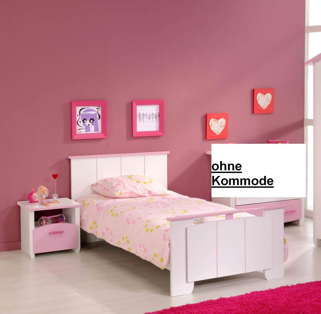 kinderzimmer biotiful 4 komplettset 2 teilig wei rosa. Black Bedroom Furniture Sets. Home Design Ideas