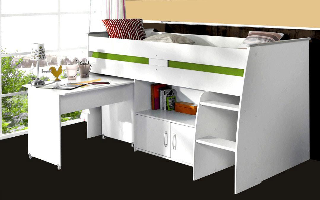 Hochbett mit Schreibtisch und Kommode REVERSE 1 weiß von Parisot