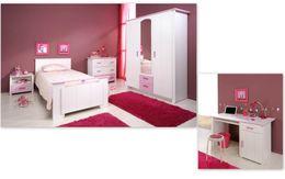 Kinderzimmer BIOTIFUL 13 Komplettset 5-teilig Weiß Rosa