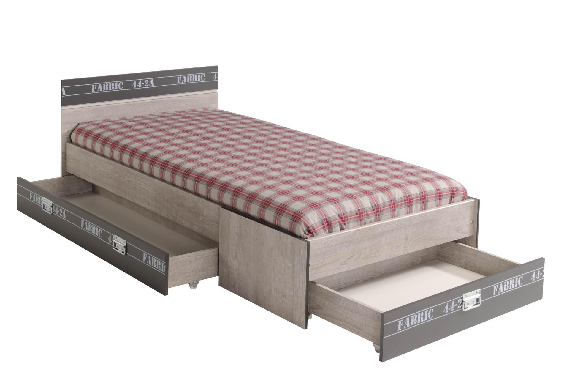kinderbett jugendbett fabric 90 x 200 mit 3 schubk sten von parisot. Black Bedroom Furniture Sets. Home Design Ideas