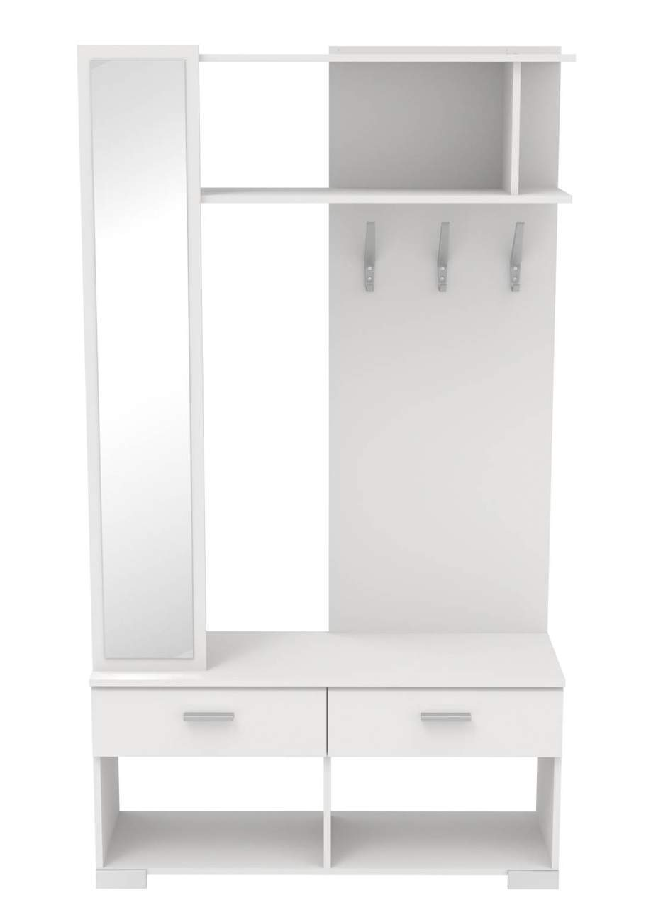 kompakt garderobe galaxy 110 dekor wei wandgarderobe mit spiegel. Black Bedroom Furniture Sets. Home Design Ideas