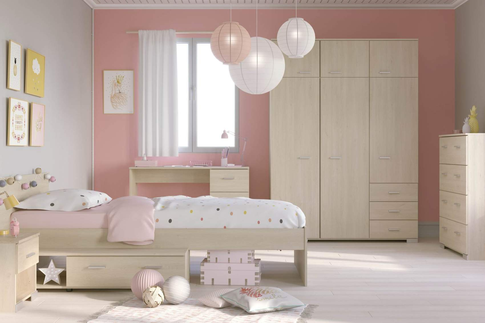 kinderzimmer set jugendzimmer galaxy 551a eiche 5 teilig. Black Bedroom Furniture Sets. Home Design Ideas