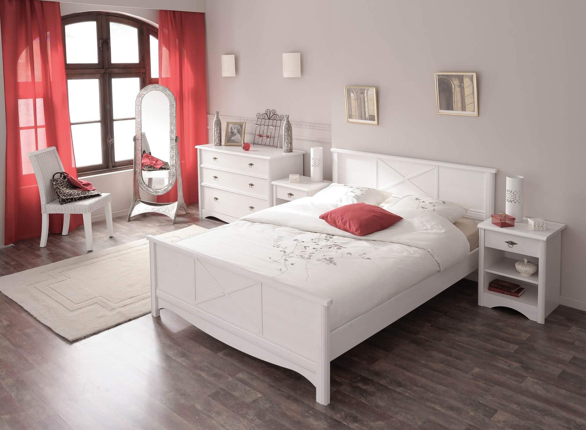 Schlafzimmer Set MARION 5 Im Landhausstil 4 Tlg. Weiß Bett 140 X 200