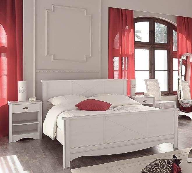 Schlafzimmer Set MARION 7 im Landhausstil 3-tlg. weiß Bett 140 x 200