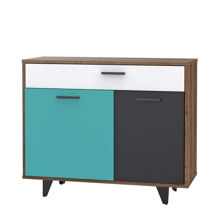 Kommode RAVEN mit 2 Türen 1 Schublade Schlammeiche mit Weiß Grün Grau