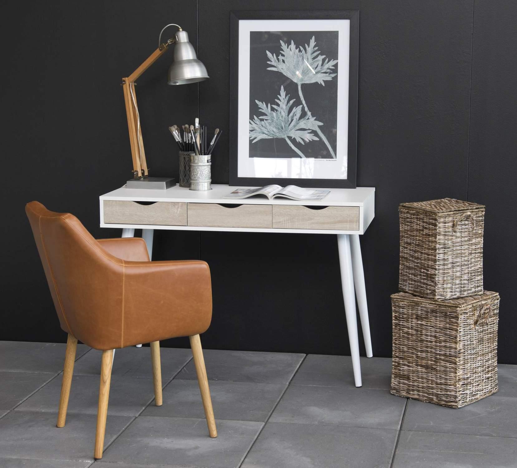 schreibtisch neptun wei schubladen in sonoma eiche. Black Bedroom Furniture Sets. Home Design Ideas