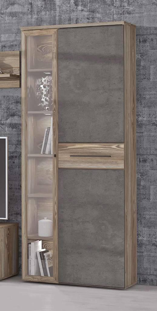 Vitrine MINDI 2 Türen links verglast Dekor: Picea Kiefer / Betonoptik