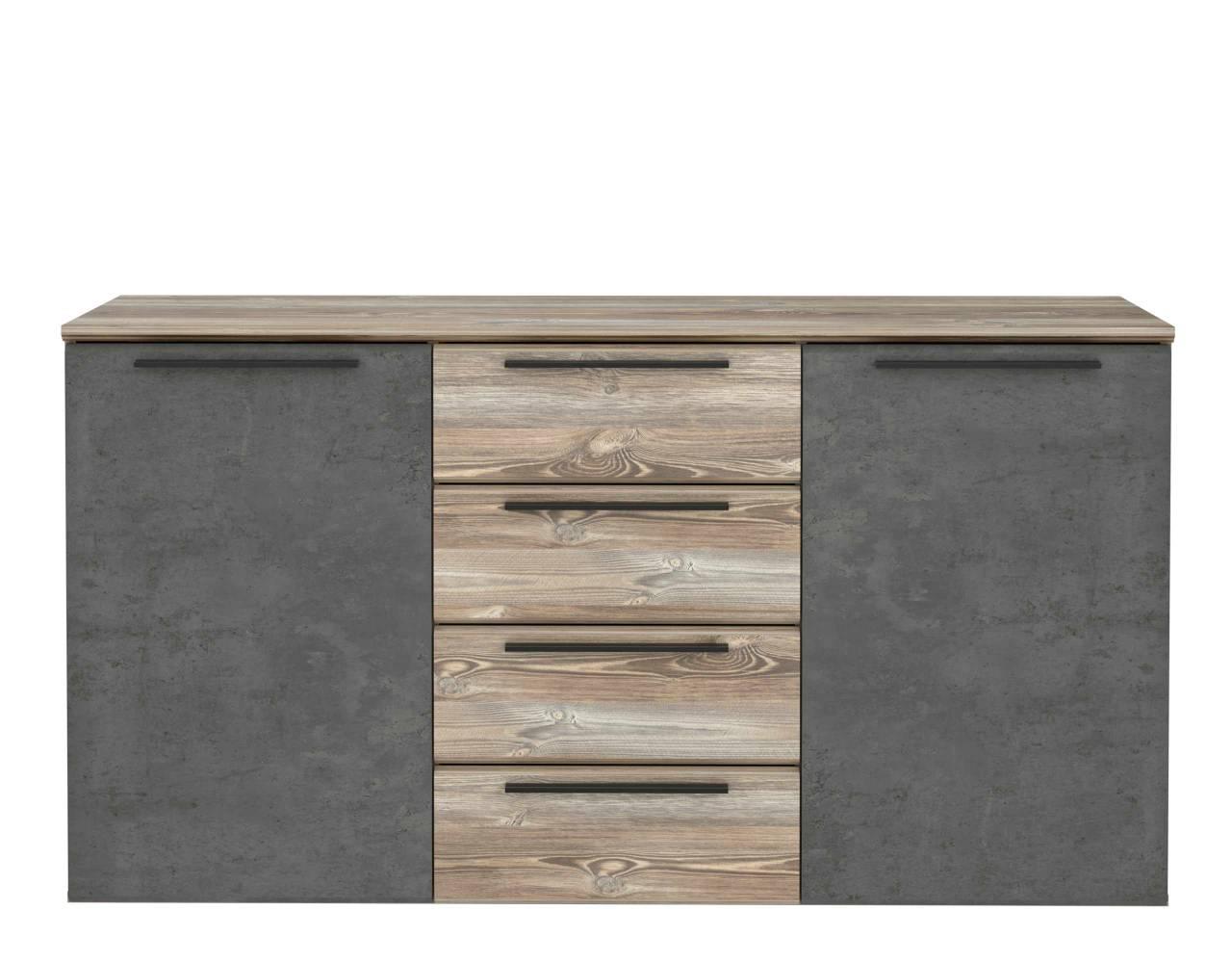 Sideboard MINDI 2 Türen 4 Schubladen Optik: Picea Kiefer / Betonoptik