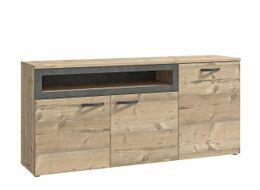 Sideboard KALOMIRA Kommode mit 3 Türen Optik: Fichte und Betonoptik