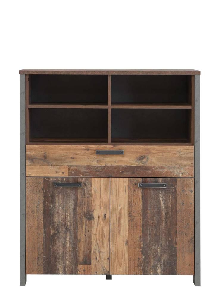 Highboard Kommode CLIF 2 Türen 1 Schublade Optik: Old Wood Vintage