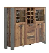 Highboard Vitrine CLIF 5-trg. Dekor: Old Wood Vintage von Forte