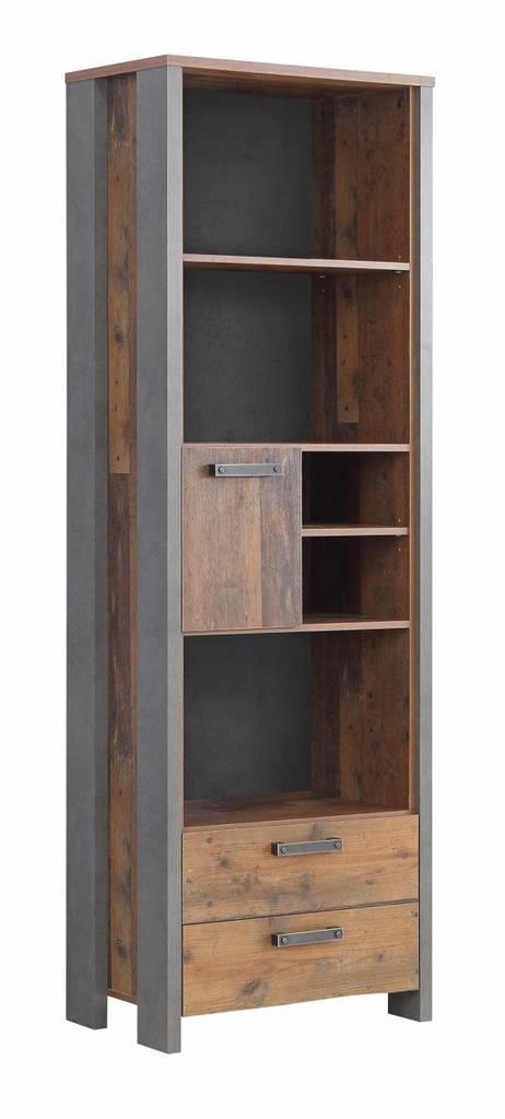 Regal CLIF 1-trg. 2 Schubladen Optik: Old Wood Vintage von Forte