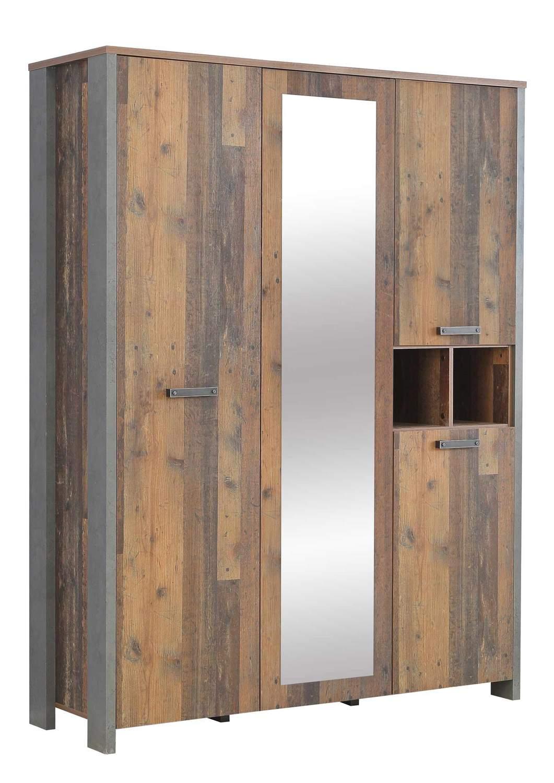 Kleiderschrank clif 4 trg optik old wood vintage von forte for Schlafzimmer vintage optik