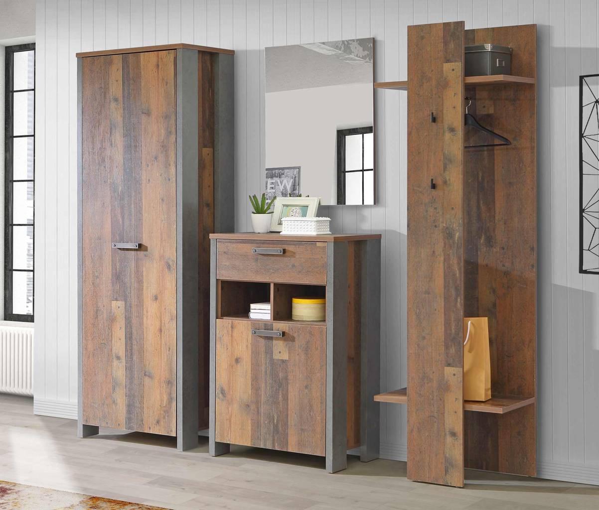 Garderobe CLIF 4-tlg. Komplett-Set Dekor: Old Wood Vintage von Forte