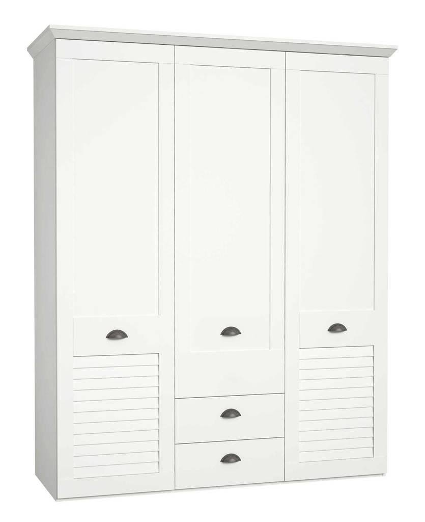 Kleiderschrank MARIDA 3 Türen 2 Schubladen Dekor: Weiß matt, von Forte
