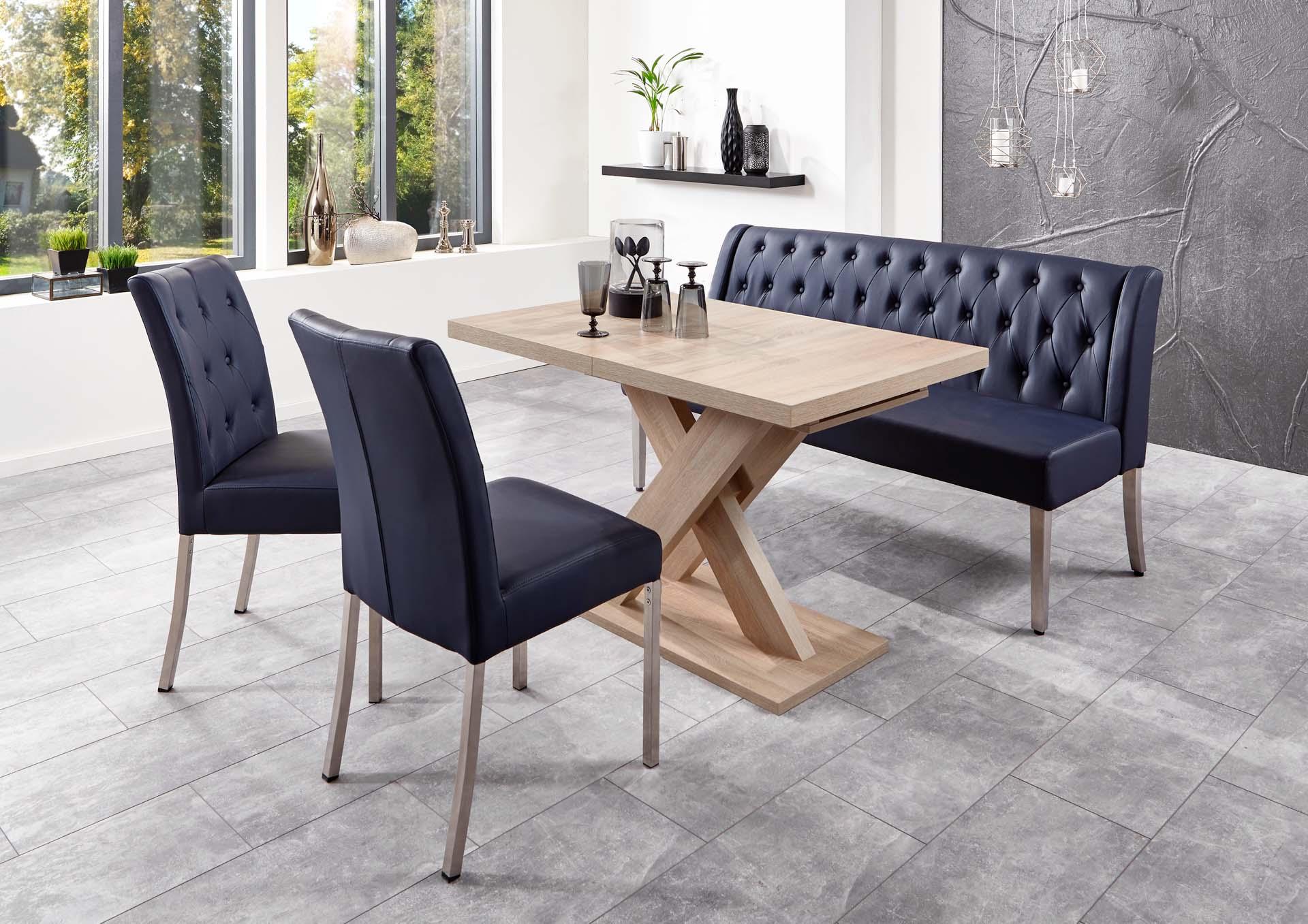 essgruppe bankgruppe manchester dunkelblau tisch sonoma eiche. Black Bedroom Furniture Sets. Home Design Ideas