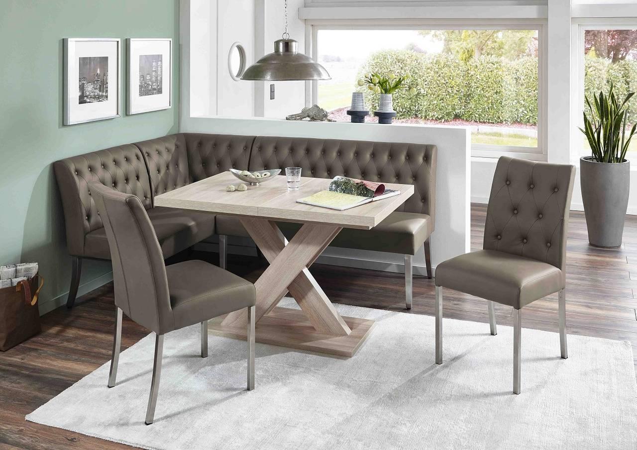 Eckbankgruppe MANCHESTER Cappuccino - Tisch Sonoma Eiche