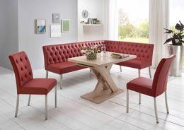 Eckbankgruppe MANCHESTER Bordeaux Rot - Tisch Sonoma Eiche