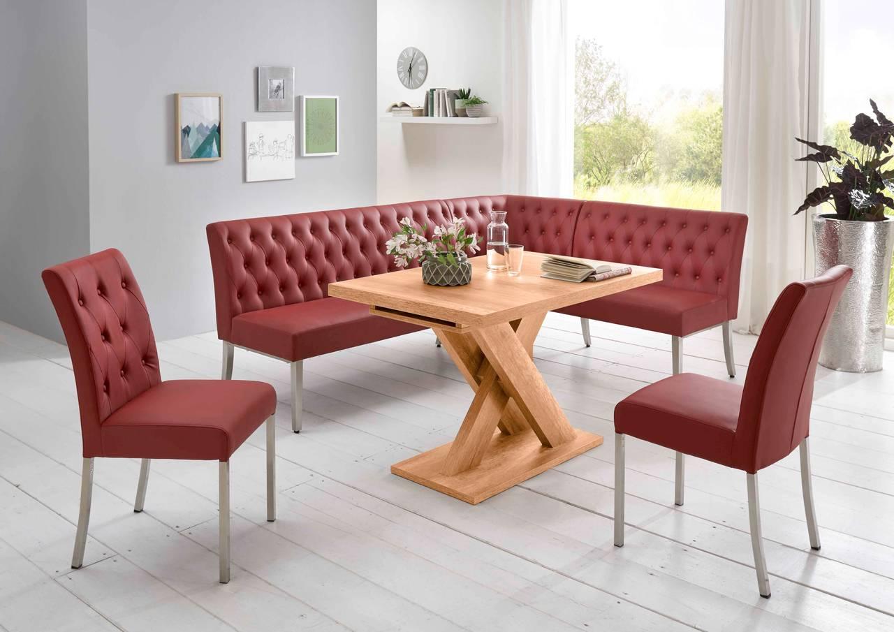 Eckbankgruppe MANCHESTER Bordeaux Rot - Tisch Honigeiche