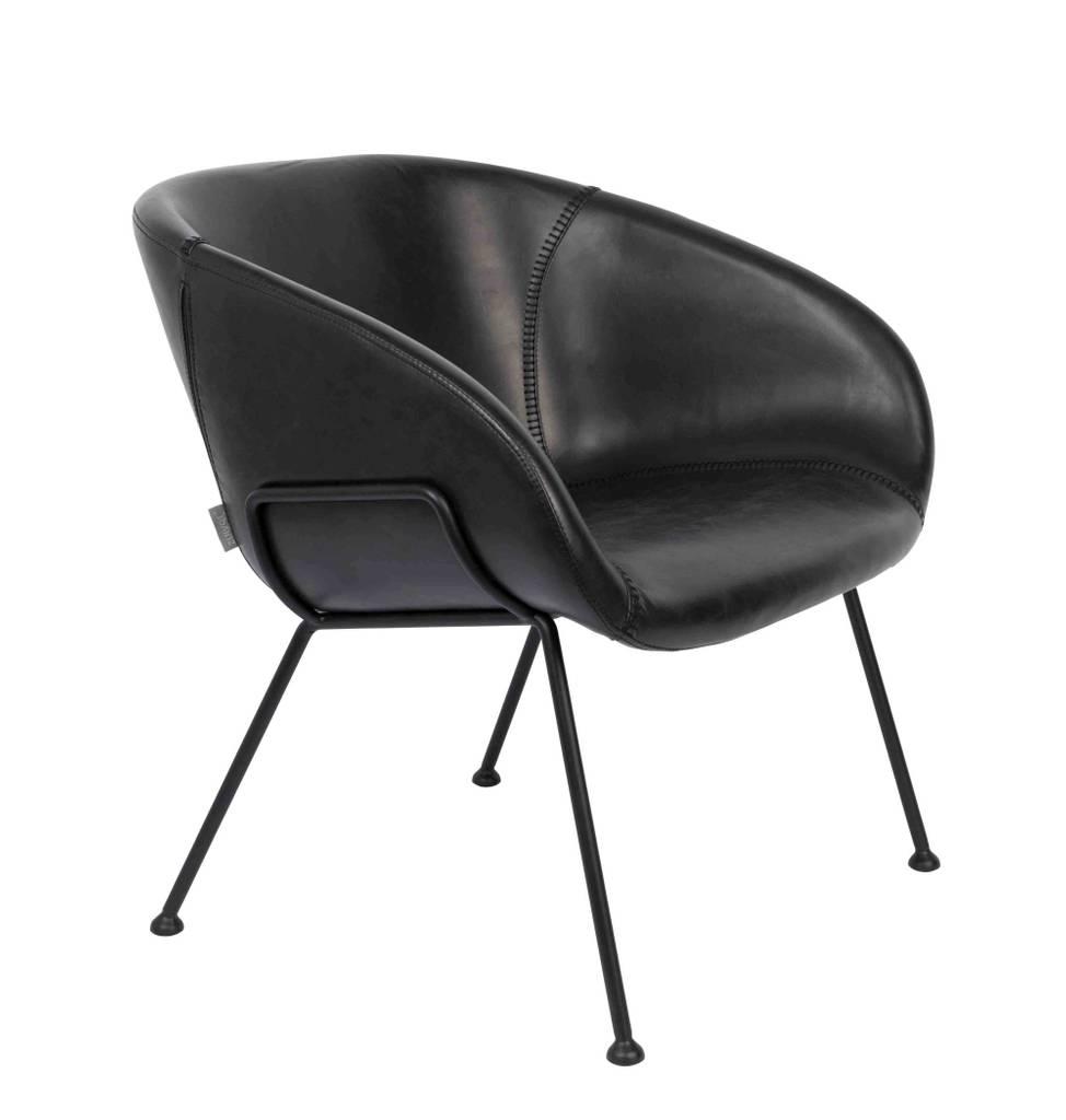 Lounge Sessel FESTON Kunstleder Schwarz von ZUIVER